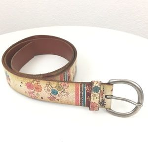Ralph Lauren Floral Boho Leather Wide Belt